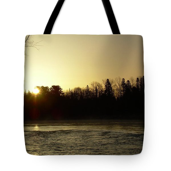 Tote Bag featuring the photograph Golden Mississippi River Sunrise by Kent Lorentzen