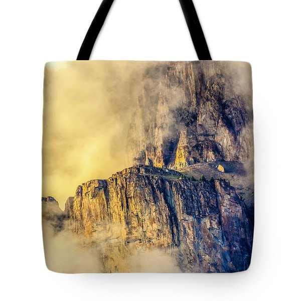 Golden Mist On Cathedral Mountain Tote Bag