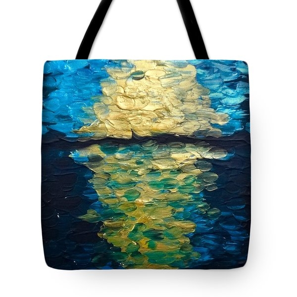 Golden Moon Reflection Tote Bag