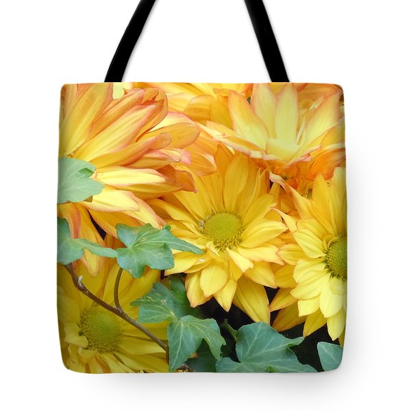 Golden Mums And Ivy Tote Bag