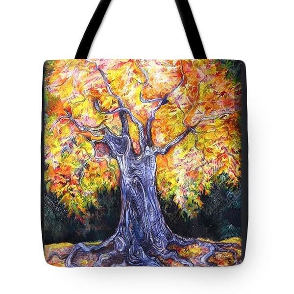 Tote Bag featuring the drawing Golden Oak by Anna  Duyunova