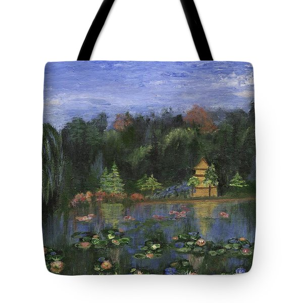 Tote Bag featuring the painting Golden Pagoda by Jamie Frier