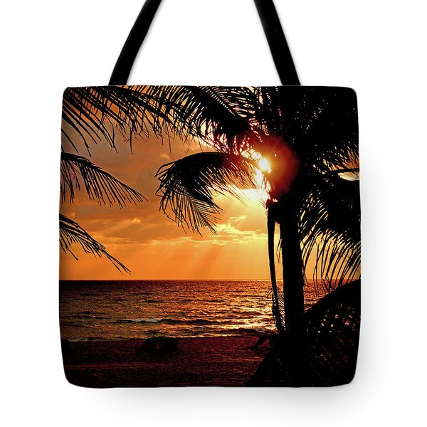 Golden Palm Sunrise Tote Bag by Meta Gatschenberger