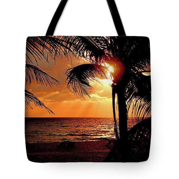 Golden Palm Sunrise Tote Bag