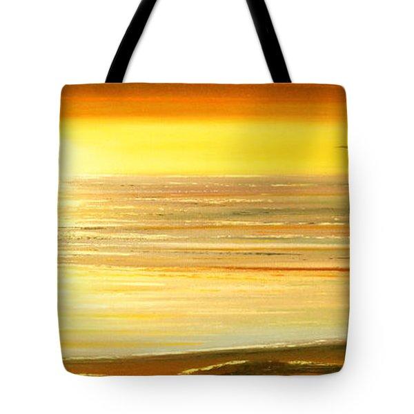 Golden Panoramic Sunset Tote Bag by Gina De Gorna