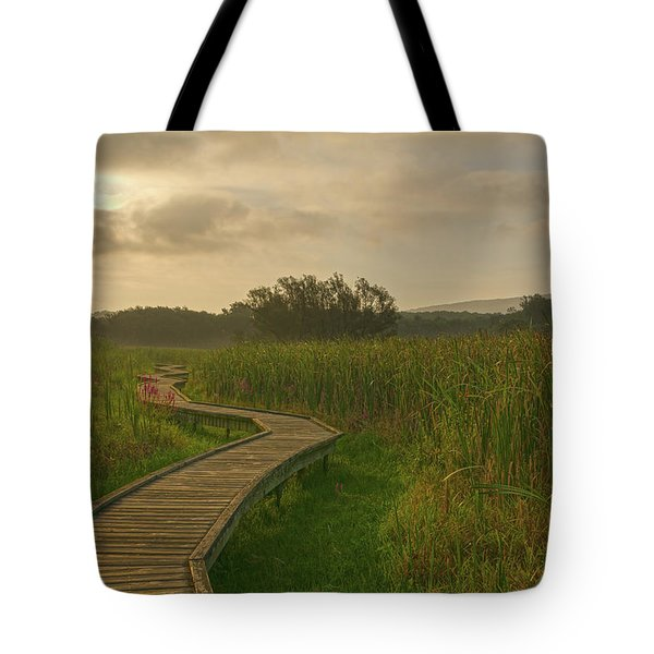 Golden Pathway To A Foggy Sun Tote Bag