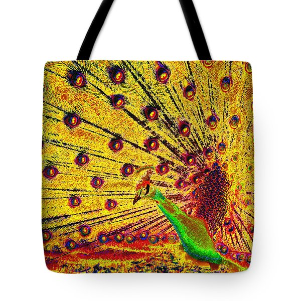 Golden Peacock Tote Bag by David Lee Thompson