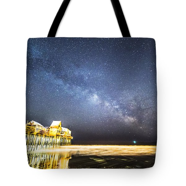 Golden Pier Under The Milky Way Version 1.0 Tote Bag
