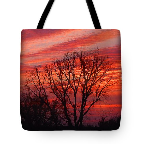 Golden Pink Sunset With Trees Tote Bag