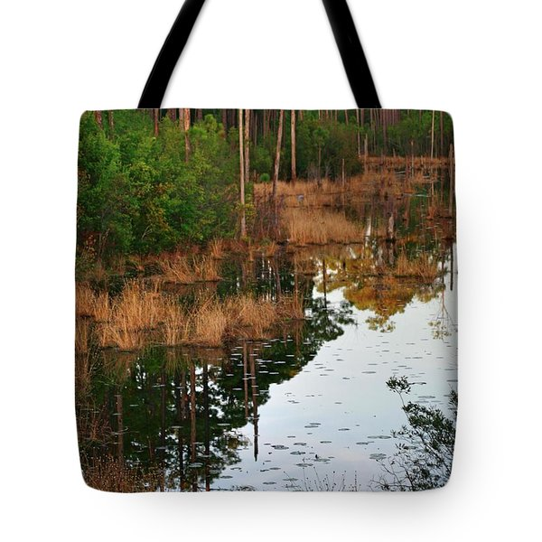 Tote Bag featuring the photograph Golden Pond by Lori Mellen-Pagliaro