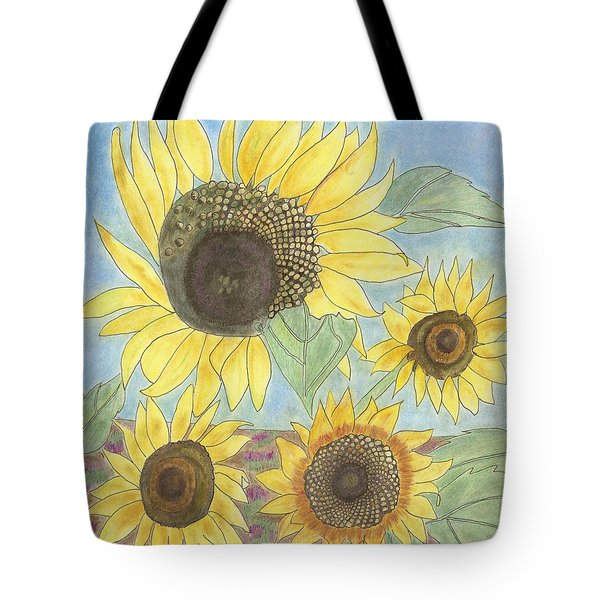 Tote Bag featuring the drawing Golden Quartet by Arlene Crafton