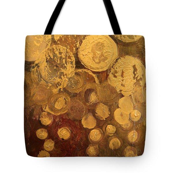Golden Rain Abstract Tote Bag