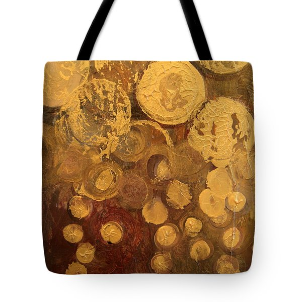 Golden Rain Abstract Tote Bag