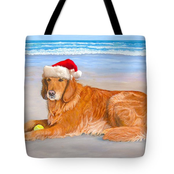 Tote Bag featuring the painting Golden Retreiver Holiday Card by Karen Zuk Rosenblatt