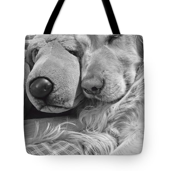 Golden Retriever Dog And Friend Tote Bag by Jennie Marie Schell