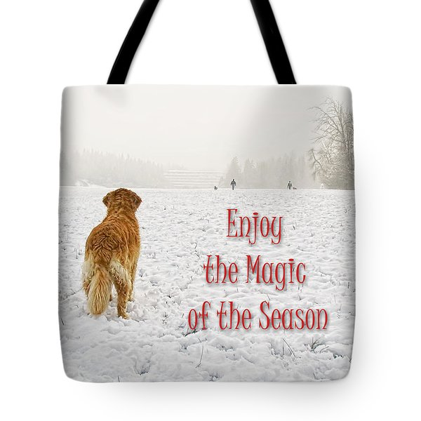 Golden Retriever Dog Magic Of The Season Tote Bag by Jennie Marie Schell