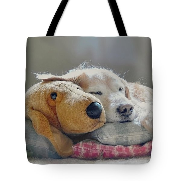 Golden Retriever Dog Sleeping With My Friend Tote Bag