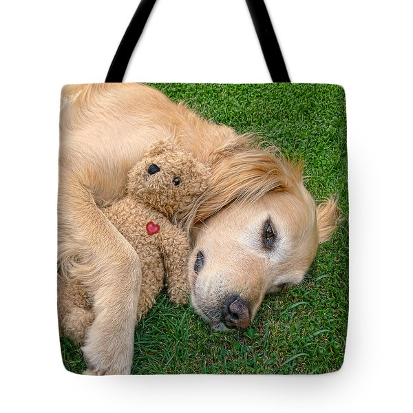Golden Retriever Dog Teddy Bear Love Tote Bag by Jennie Marie Schell