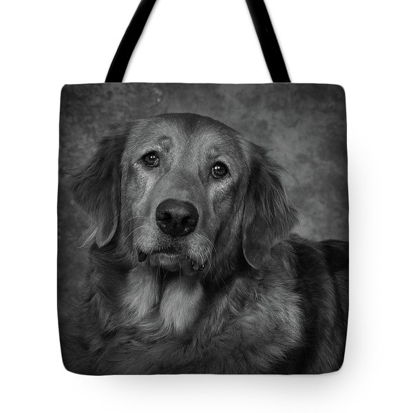 Golden Retriever In Black And White Tote Bag by Greg Mimbs