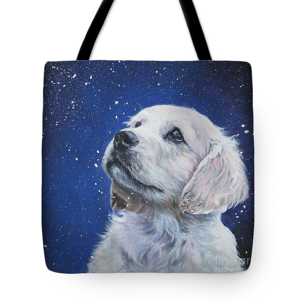 Golden Retriever Pup In Snow Tote Bag