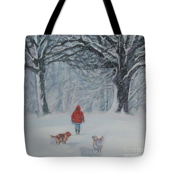Golden Retriever Winter Walk Tote Bag