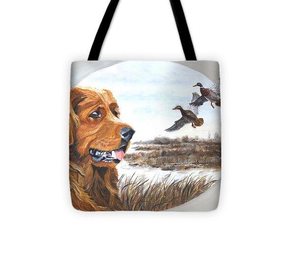 Golden Retriever With Marsh Scene Tote Bag by Johanna Lerwick