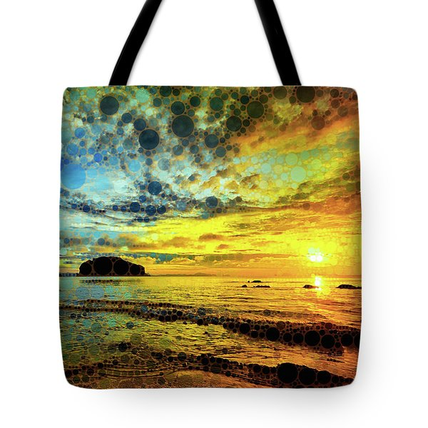 Tote Bag featuring the mixed media Golden Sea by Susan Maxwell Schmidt
