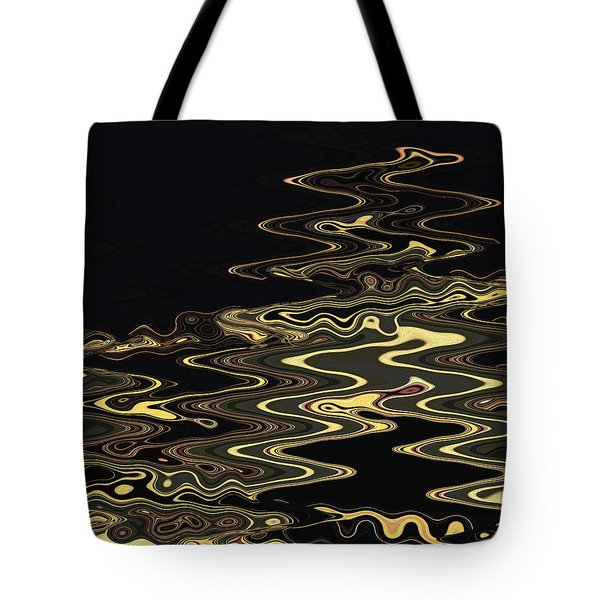 Tote Bag featuring the digital art Golden Shimmers On A Dark Sea by Gina Harrison