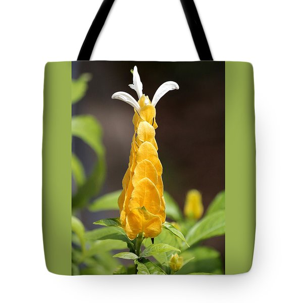 Tote Bag featuring the photograph Golden Shrimp Flower by Sheila Brown