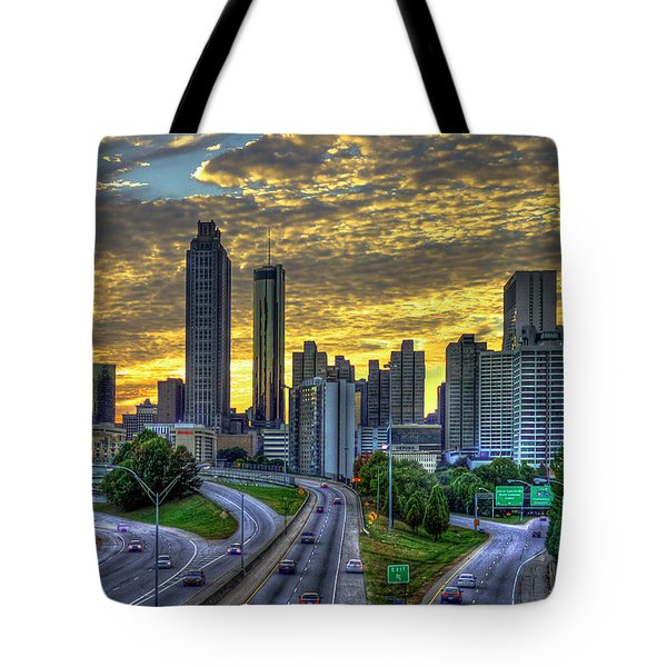 Tote Bag featuring the photograph Golden Skies Atlanta Downtown Sunset Cityscape Art by Reid Callaway