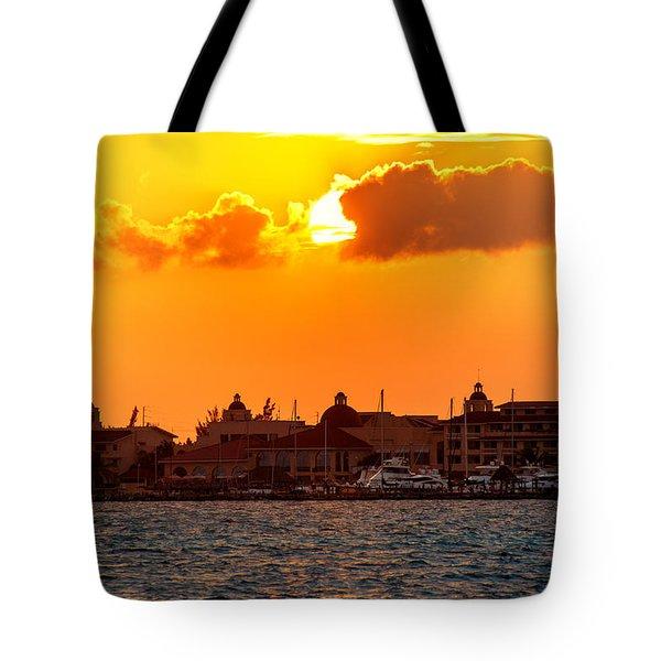 Golden Sky In Cancun Tote Bag