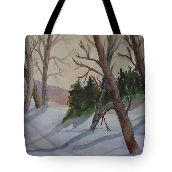 Golden Sky In The Snow Tote Bag