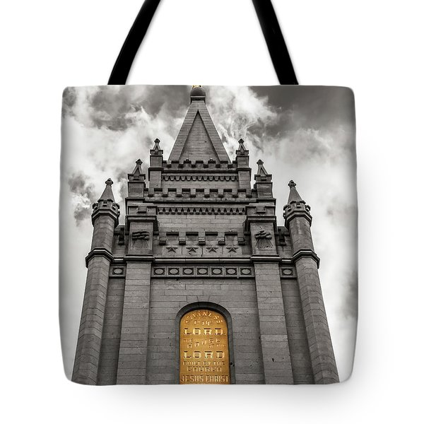 Golden Slc Temple Tote Bag