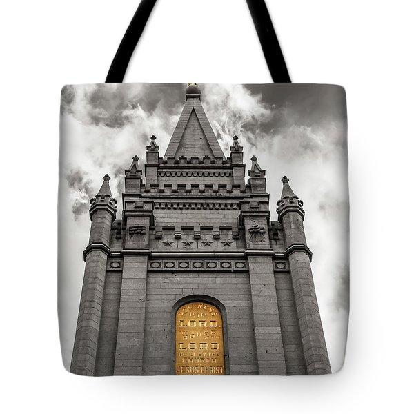 Golden Slc Temple Tote Bag