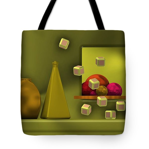 Golden Still Life With Red Balls  Tote Bag