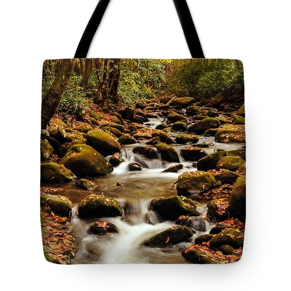 Tote Bag featuring the photograph Golden Stream In The Great Smoky Mountains by Debbie Green
