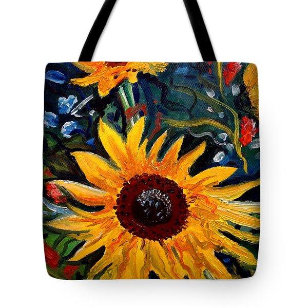 Golden Sunflower Burst Tote Bag