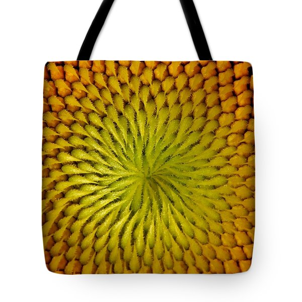 Tote Bag featuring the photograph Golden Sunflower Eye by Chris Berry