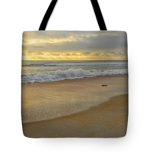 Golden Sunlight On Peaceful Early Morning Beach  Tote Bag