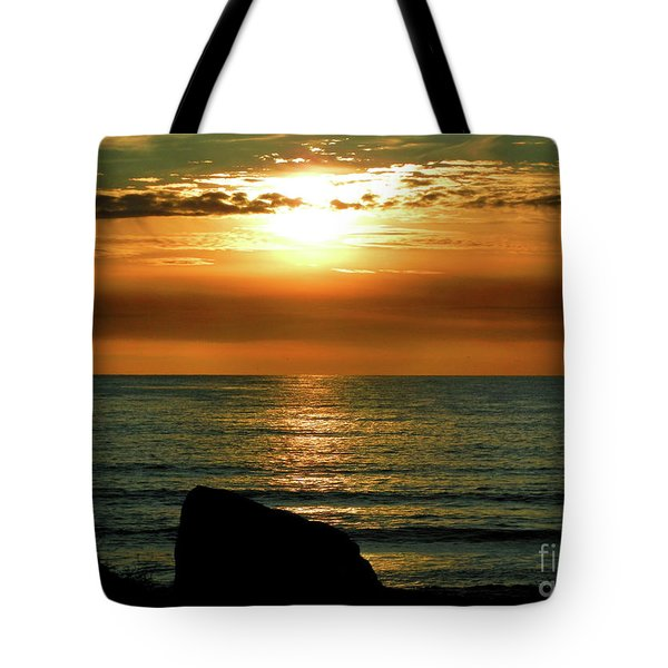 Tote Bag featuring the photograph Golden Sunset At The Beach IIi by Mariola Bitner