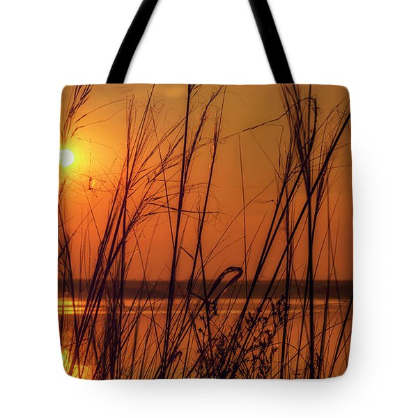 Golden Sunset At The Lake Tote Bag