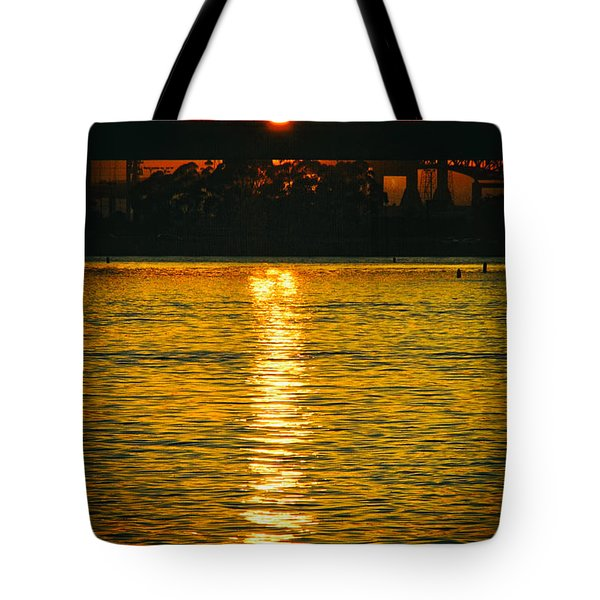 Tote Bag featuring the photograph Golden Sunset Behind Bridge by Mariola Bitner
