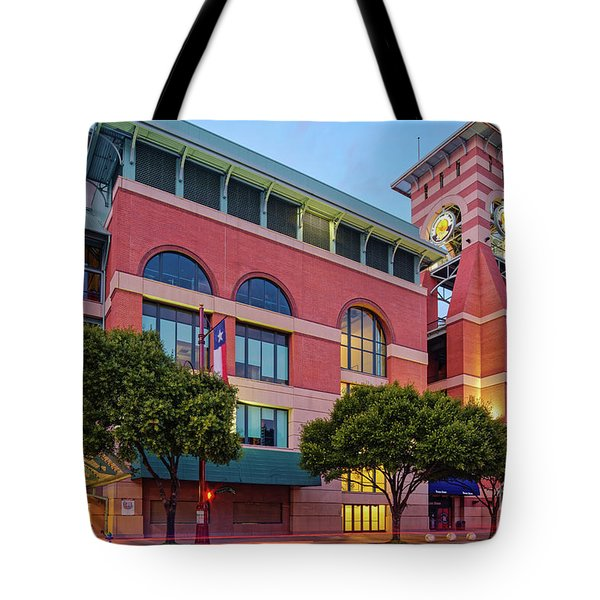 Golden Sunset Glow On The Facade Of Minute Maid Park - Downtown Houston Harris County Texas Tote Bag