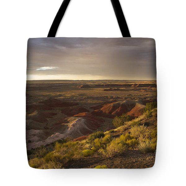 Golden Sunset Over The Painted Desert Tote Bag