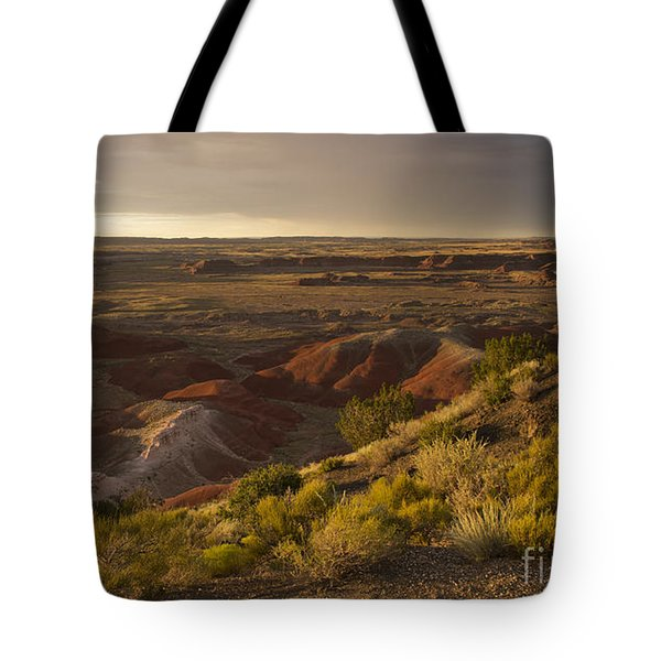 Tote Bag featuring the photograph Golden Sunset Over The Painted Desert by Melany Sarafis