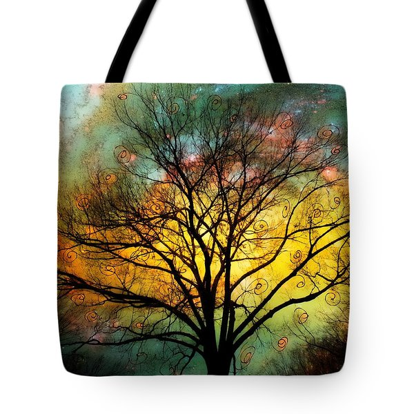Golden Sunset Treescape Tote Bag
