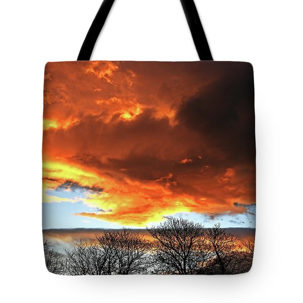 Golden Sunset With Filigree Trees Tote Bag