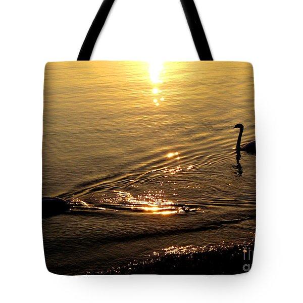 Golden Swan Lake Tote Bag