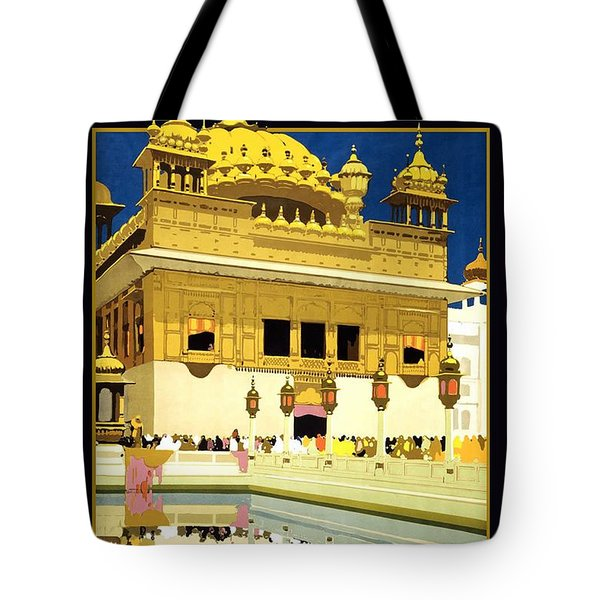 Golden Temple Amritsar India - Vintage Travel Advertising Poster Tote Bag