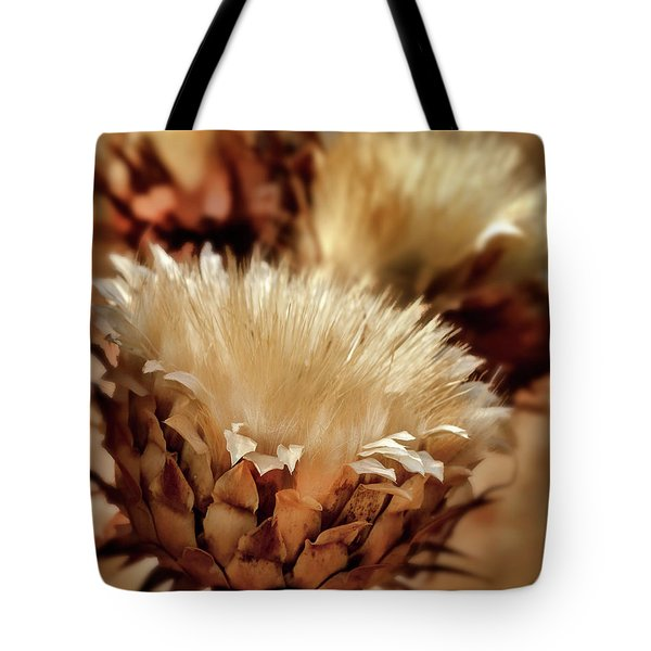 Tote Bag featuring the digital art Golden Thistle II by Bill Gallagher